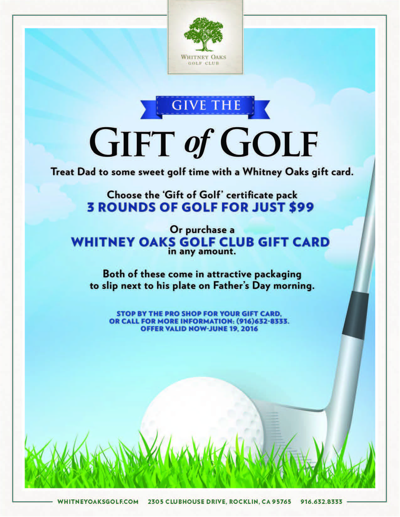 Whitney Oaks Golf Club Get The Gift Of Golf For Dad